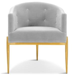 Gold stainless steel legs gray velvet modern dining chair