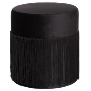 Black velvet round fringe ottoman