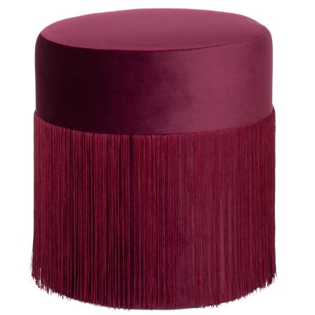Blush pink round fringe ottoman