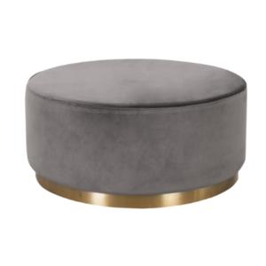 Gray velvet round ottoman with gold base