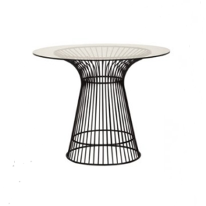 Black wire cocktail Dining table with glass top