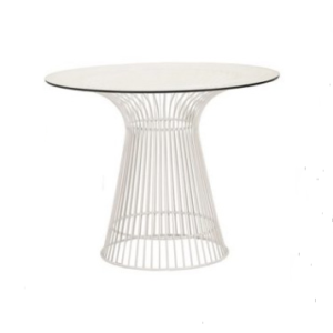 White wire cocktail Dining table with glass top