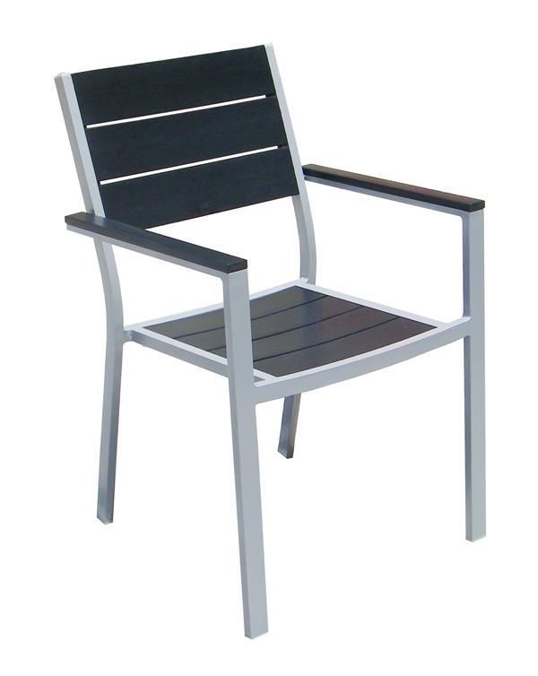Aluminum frame plastic wood stackable armchair