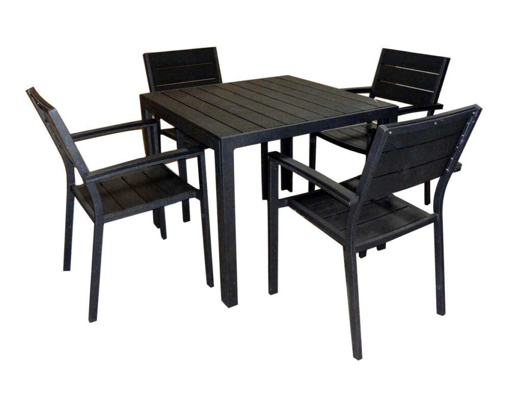 5pcs set aluminum polywood outdoor cafe set