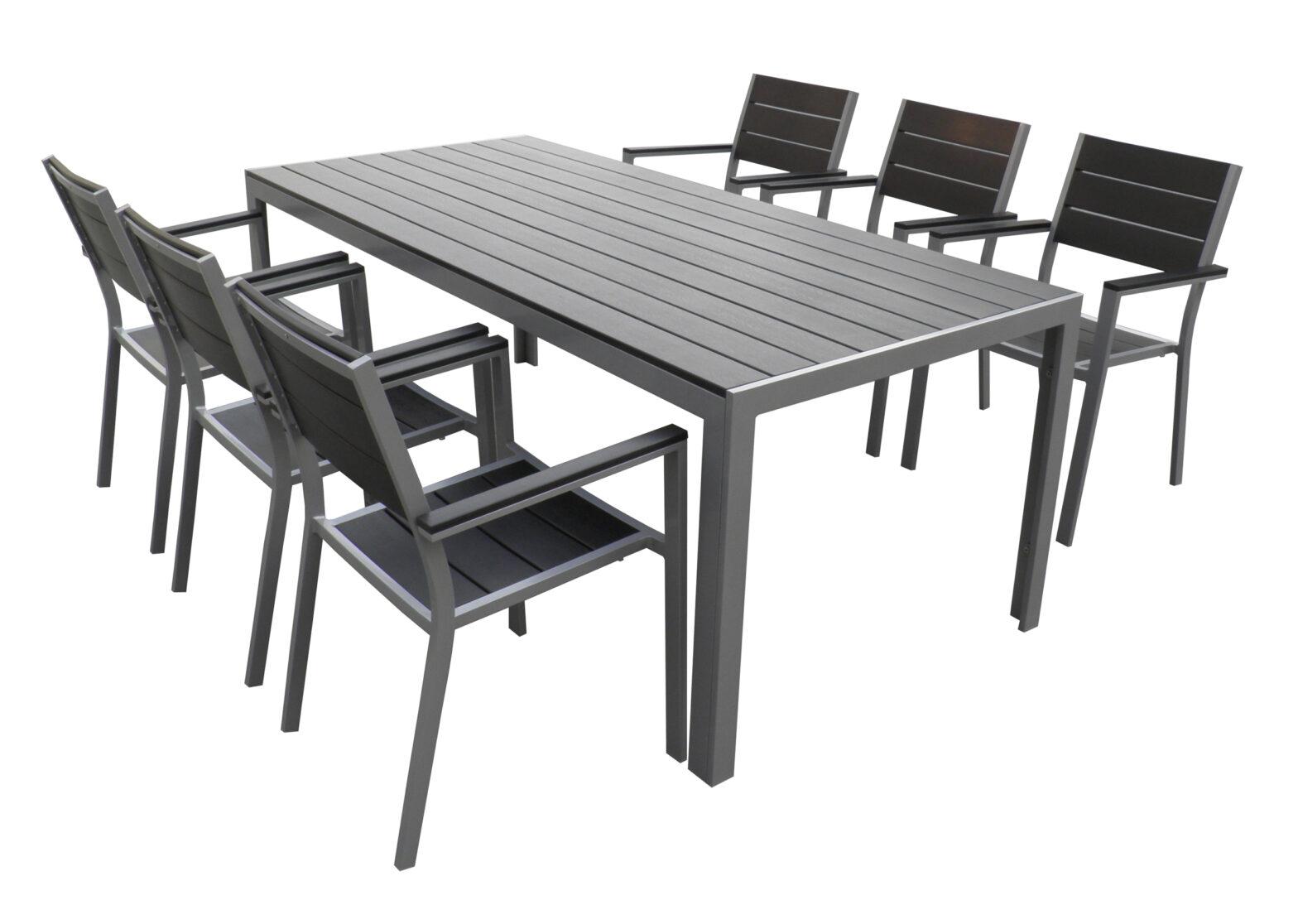 7pcs set aluminum polywood outdoor dining set