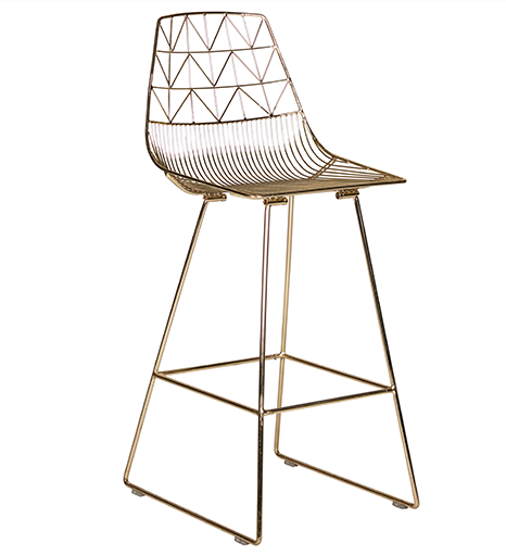 Rose gold metal Wire stackable Bar Chair