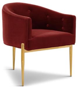 Gold plated legs velvet upholstered dining chair