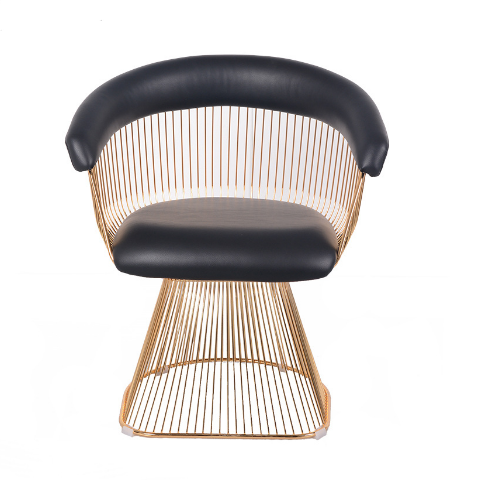 Gold wire armchair with black PU leather seat cushion