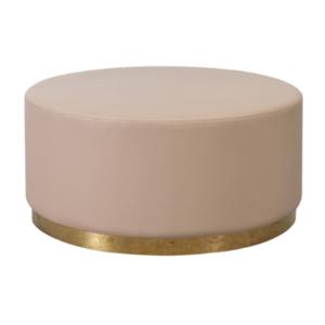 Blush pink velvet round ottoman with gold base