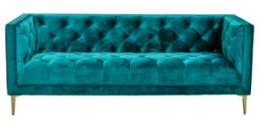 Golden legs tufted button emerald green velvet 3 seater lounge sofa