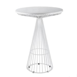 White metal round cocktail bar table