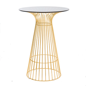 Gold wire arrow cocktail table with glass top