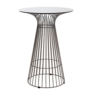 Black wire cocktail table with glass top