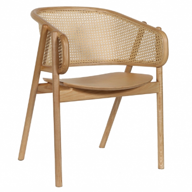 Wooden cane back dining armchair - natural