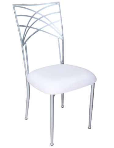 Silver metal frame wedding chair with removable seat cushion