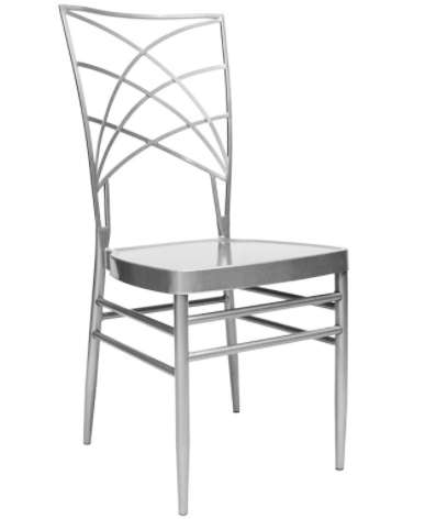 Wedding used metal cross back chair in silver