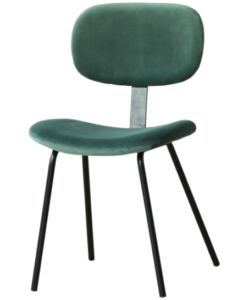 Modern chair metal legs emerald green velvet dining chair