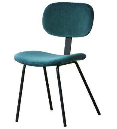 Modern chair metal legs blue velvet dining chair