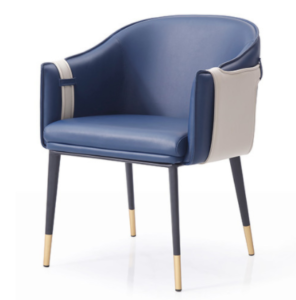 Modern chair metal legs blue PU leather dining chair