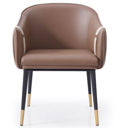 Modern chair metal legs brown PU leather dining chair