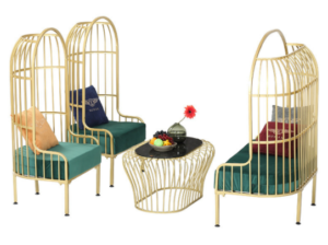 Gold powder coated metal 4pcs birdcage sofa set