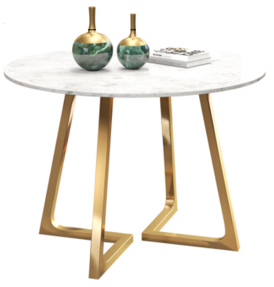 Modern marble top golden base dining table