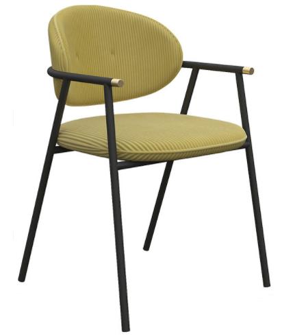 Modern chair black metal frame velvet upholstered dining chair