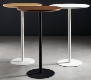 White wood top metal round base bar table
