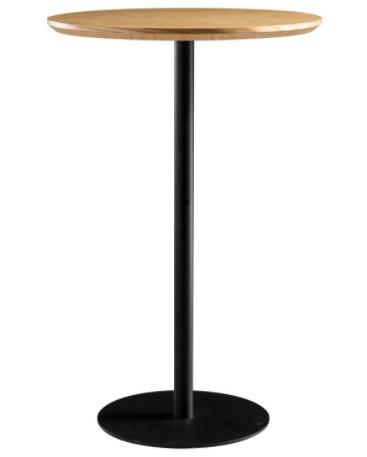 Wood top metal round base bar table