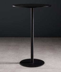 Black wood top metal round base bar table