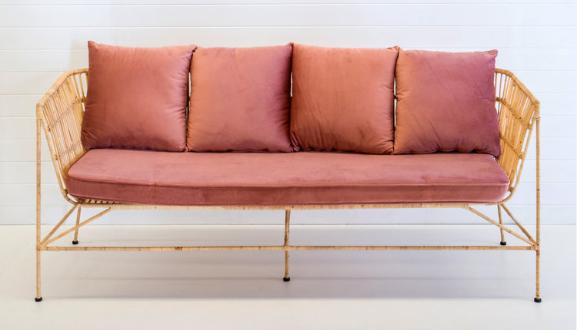 Wedding furniture metal frame rattan lounge sofa set