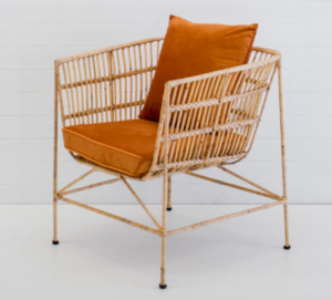 Event rental furniture metal frame rattan sofa chair