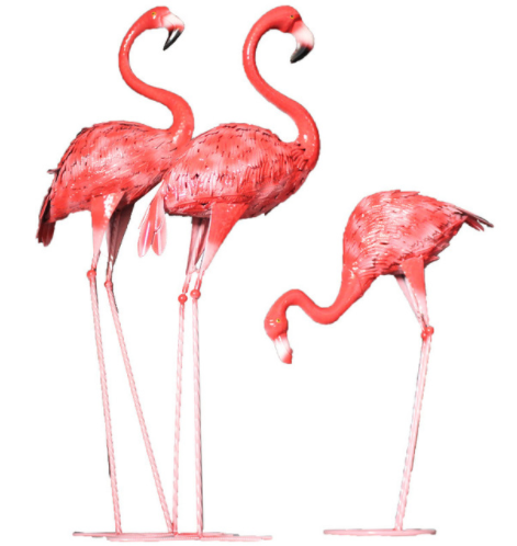 Pink metal Flamingos accessory for garden decoration