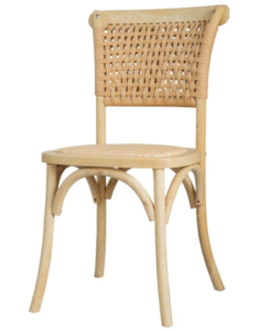 Beech wood stackable rattan dining chair in natural