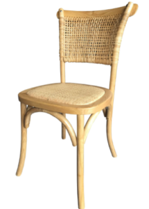 Beech wood stackable rattan seat dining chair