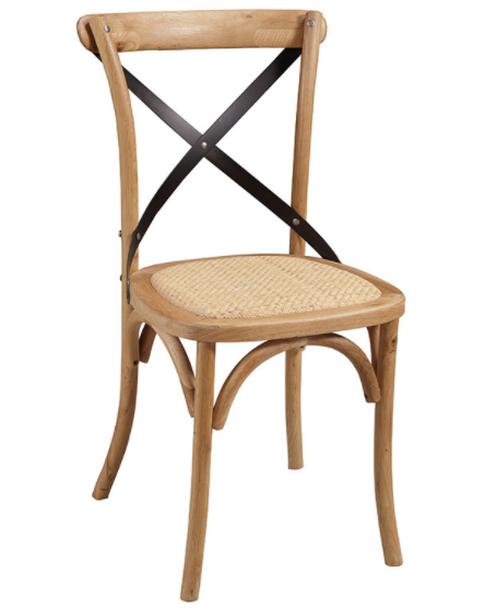 Solid wood stackable cross back dining chair