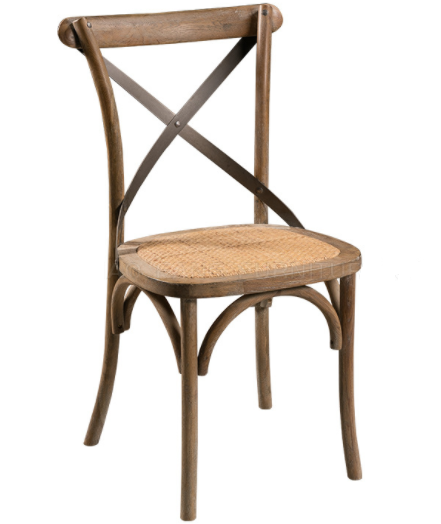 Vintage look solid wood stackable cross back dining chair