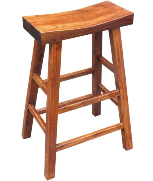 Vintage look solid wood barstool