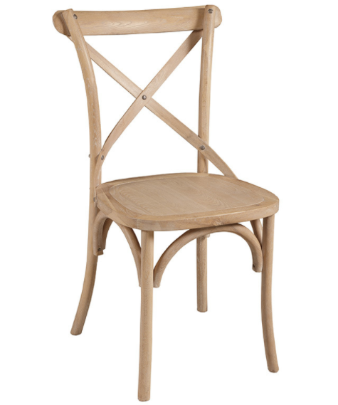 French Design Natural Oak Wood Cross Back Dining Chair