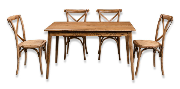 Natural Oak Wood Cross Back Dining Chair And Table