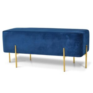 Gold plated metal legs rectange velvet ottoman stool seat