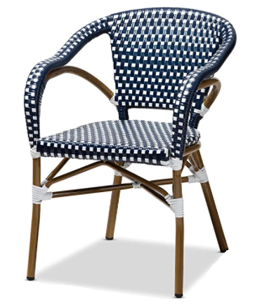 Aluminum Frame Bamboo Finish Stackable Navy/White Rattan chair