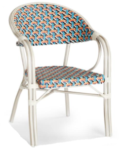 All-weather wicker furniture aluminum frame stacking arm chair