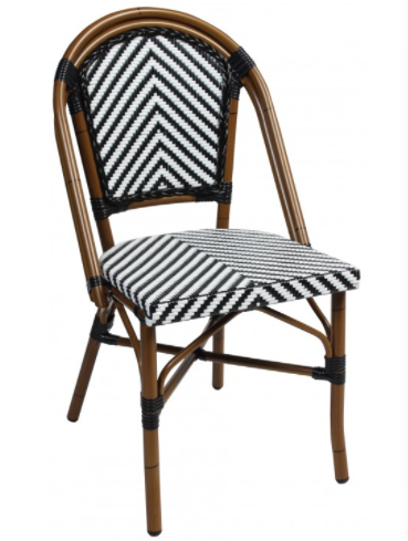 Aluminum Frame Black/white Rattan French Bistro Cafe Chairs