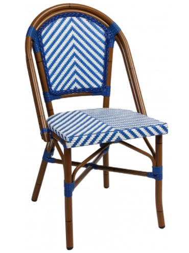 Aluminum Frame White/blue Rattan French Bistro Cafe Chairs