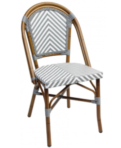 Aluminum Frame White/gray Rattan French Bistro Cafe Chairs