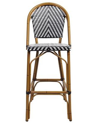 Aluminum Frame French Bistro Rattan Bar Chair