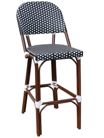 Commercial Grade aluminum frame rattan bistro bar stool