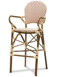 Classic French Indoor and Outdoor Bamboo Style Stackable Bistro Bar Stool