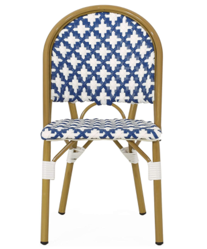 Outdoor French Bistro Blue/white Rattan Dining Chairs